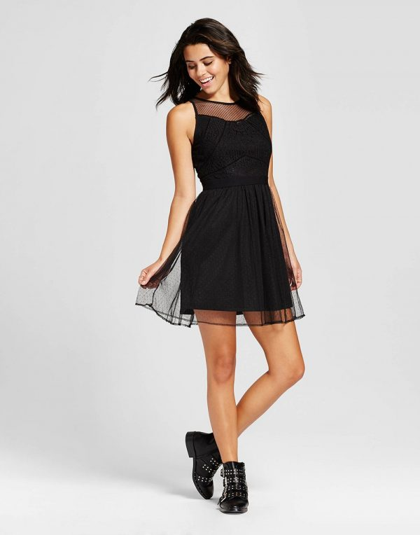 Women's Lace Fit & Flare Dress - Black