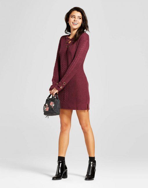 Women's Lace-Up Sweater Dress