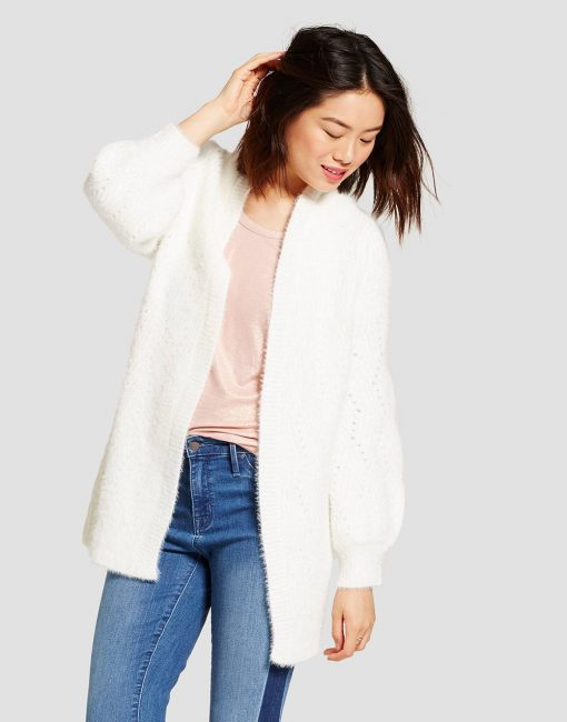 Women's Pointelle Open Cardigan