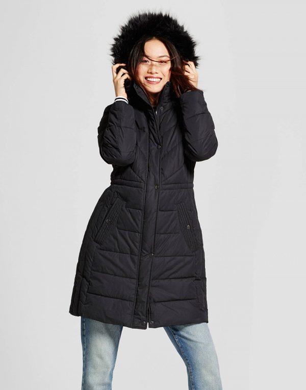 Women's Puffer Jacket with Faux Fur Hood Detail