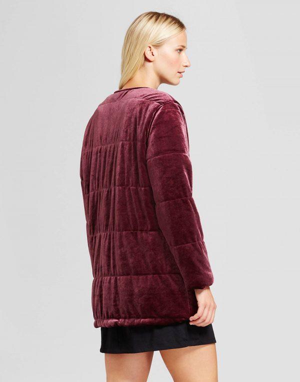 Women's Quilted Velvet Bomber Jacket