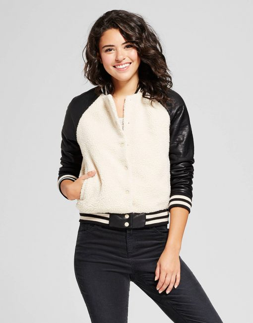Women's Sherpa Bomber with Faux Leather Sleeves