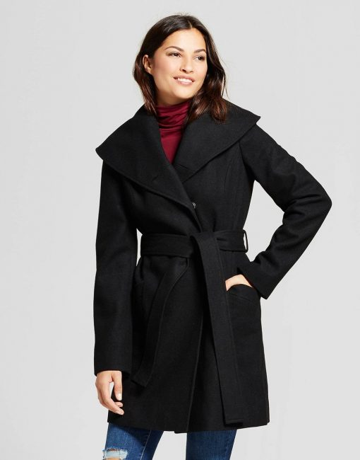 Women's Wool Shawl Collar Wrap Coat